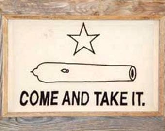 """Gonzales Framed Barnwood Flag 28 x 40 """"Come and Take It"""""""