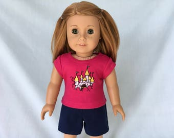 Pink Castle T-Shirt and Navy Blue Shorts for American Girl/18 Inch Doll