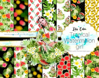 Tropical watermelon girl paper Tropical themed graphics For planners scrapbooking,  invitations and more 14 sheets  300 ppi