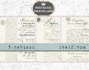 Ephemera Paper Ledger Letter printable vintage Journal 7.5 x 5 inch Instant Download digital collage sheet J102