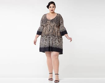 Plus Size Leopard Print Black Brown Amy Bohemian Dress with Bell Sleeves