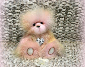"SOLD *** !!!! Pastel ours d'artiste de collection 21cm (8.3"") ours décoration fausse fourrure OOAK peluche"