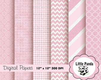 80% OFF SALE Baby Girl Digital Scrapbooking Papers 6 jpg files 12 x 12 - Instant Download - D171