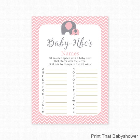 Baby Shower Games Baby Name Abc Game Pink Elephant Baby Shower