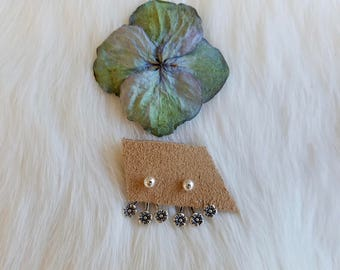 Flower Power Sterling Silver Earring Studs with Floral Ear Jacket