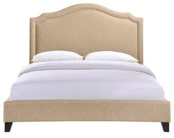 Macy Queen Bed in Beige
