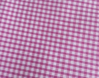 Fabric cherry pink gingham cotton