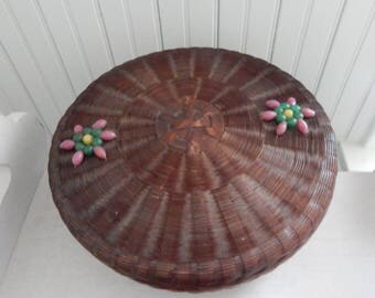Victorian Sewing Basket with Pink Beaded Top - Round Woven Wicker Sewing Basket - Covered Sewing Notion Basket - Victorian Era Sewing Basket