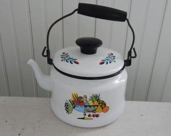 Berggren - Style White Enamelware Teapot with Rosemaling - 1960s Swedish Folk Art Enamel Teapot - Berggren-Style Mid Century White Teapot
