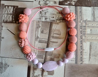 Pink lilac teething necklace