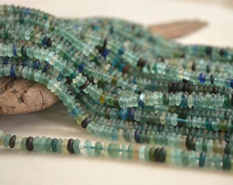 "7.5"" Half Strand- Ancient Roman Glass Beads- Afghanistan Beads- Rondelle Beads (1045-RB)"