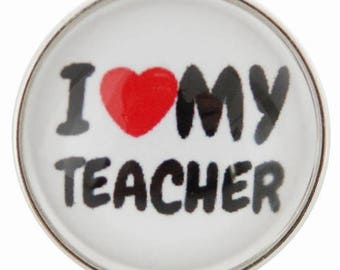 C0656 Art Glass Snap ~ I Love My Teacher