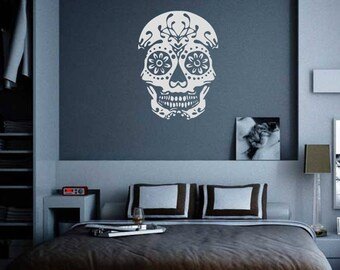 Sugar Skull Decal // multiple sizes // sticker wall decor day of the dead laptop skin tablet ipad car graphics room decor goth AA10