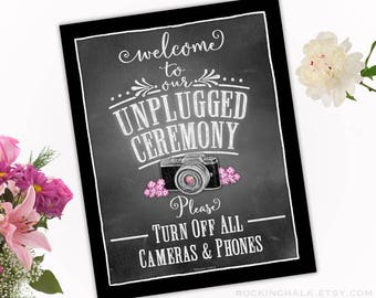 "Unplugged Wedding Sign - 11x14"" Printed Sign - Unplugged Ceremony - No Cameras or Phones"