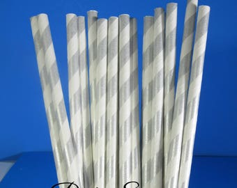 Silver Straws, Silver Striped straws Wedding Silver and white straws paper straws silver white silver party straws