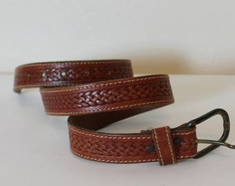 Leather Belt Brown Leather Belt cognac Brown Tooled Belt with Buckle Boho Hippie Cowboy
