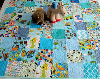 Blue baby or toddler patchwork quilt, playmat, baby quilt, nursery decor, baby blanket, planes, trucks, animals, owls boy quilt