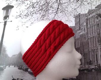 Headband, headband, cotton, Scarlet red twisted earmuffs