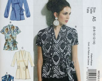 Blouse Sewing Pattern - McCall's 6564 - Top Sewing Pattern - Misses Sewing Pattern - New - Uncut - Size 6 - 8 -10 - 12 - 14