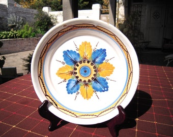 Antique French Faience Tin Glazed Earthenware Plate Blue and Yellow