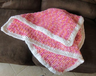 Pink, Peach and White Cuddly Blanket