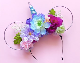 Unicorn Flower Crown and Lilac Wire Mouse Ears Headband