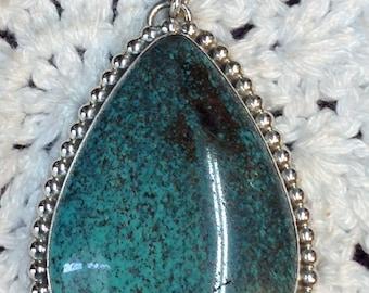 Large Blue Turquoise with Black Matrix Pendant
