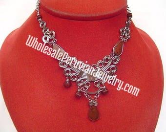 Brown Tiger's Eye Teardrops, Alpaca Silver Inca Wing Necklace - Handmade Peruvian Jewelry
