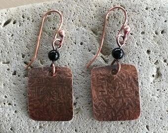 Women's Disc Earrings - black Onyx - long dangle - Handmade - beaded - copper Jewelry