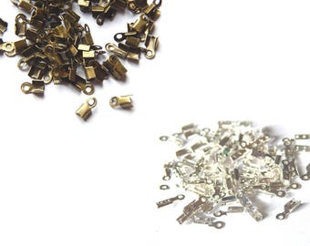 100 caps cords bend 6x3mm / / tip necklace bracelet / / bronze or silver color