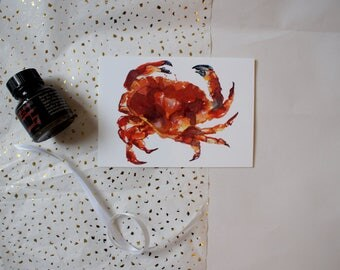 A6 Watercolour Seafood Crab Blank Greeting Card