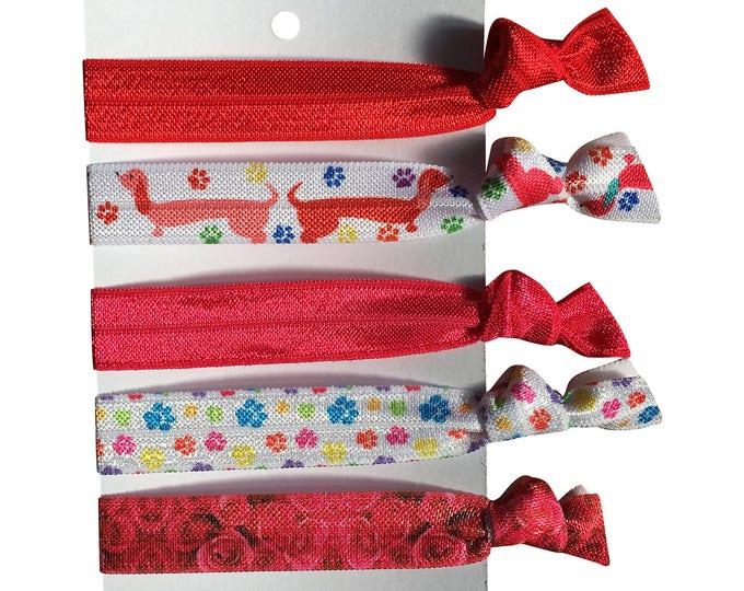 5 hair elastics, soft stretch hair ties, ponies, yoga hair ties, bracelets, ponytail holders - RED PAWS