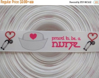 """ON SALE PROUD to be a Nurse 7/8"""" 22mm Grosgrain Hair Bow Craft Ribbon 2807"""