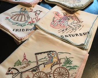Perfect Vintage Retro Days Of The Week Flour Sack Linen Cotton Small Tablecloth Or  Towels. Hand