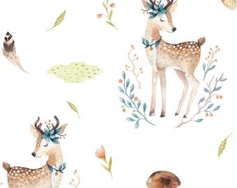 Sweet Fawn Removable Wallpaper, Woodland Wallpaper, Rustic Wallpaper, Rustic Nursery Decor, Woodland Nursery, Rustic Wall Decal, Woodlands