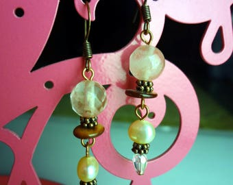 Pale Pink, Pearl, and Copper Drop Earrings