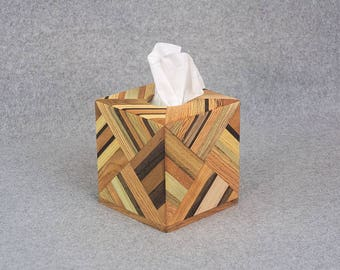 Tissue Box Cover - Handmade from Strips of Various Woods for Kleenex® or Puffs® - Great Accessory For Home or Office