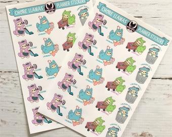 Chore Llamas Planner Sticker Sheets ( Cute alpaca llama stickers ) (Pack of 2)