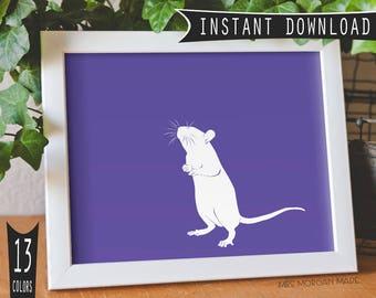 Rat, pet rat, rat silhouette, rat gift, rat memorial, custom pet portrait, exotic pet, pet sympathy gift, mouse rat,custom pet art, rat art