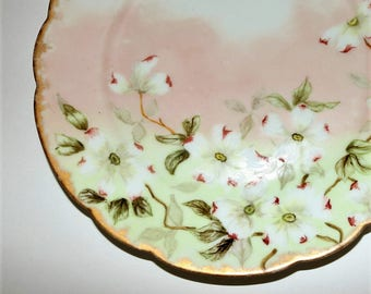 Antique Charles Field Haviland Pink Dogwood Plate Circa 1800s Pink and White with Gold Rim Wall Display Rare Hand Painted Dish