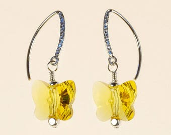Butterfly Drop Earrings Swarovski Crystal Spring Summer Nature Jewelry Birthday Gift for Her MinimalistArtisan Yellow Sterling Silver Dangle
