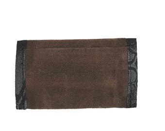 Waxed canvas front pocket wallet with elastic cash strap