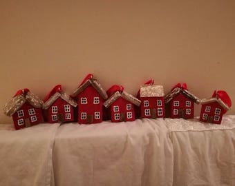 Red driftwood  rustic christmas hanging houses