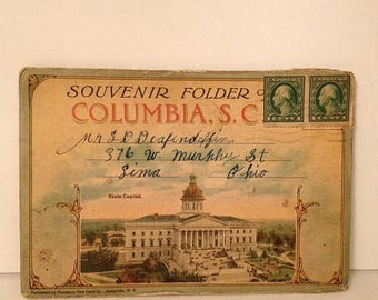 ON SALE 1918 Columbia South Carolina SC Antique Vintage Old Souvenir Postcard Booklet Mailed Stamped