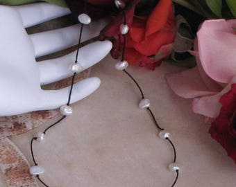 Freashwater pearl tin cup necklace