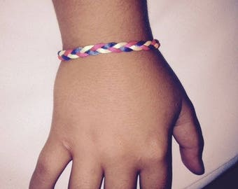 Mixed multicolor braided bracelet one size