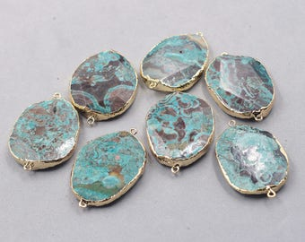 Ocean Jasper Connectors -- With Electroplated Gold Edge Charms Wholesale Supplies natural gemstone YHA-237