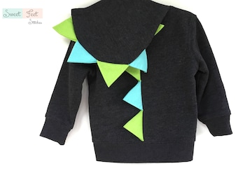 2T Gray Dinosaur Hoodie with Aqua and Green Spikes
