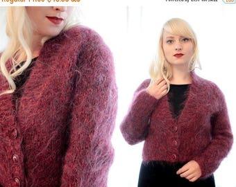 20% OFF SALE Vintage 1980s dark plum purple maroon mohair cropped cardigan sweater bolero jacket