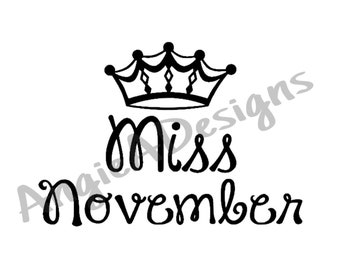 Miss November with Crown SVG
